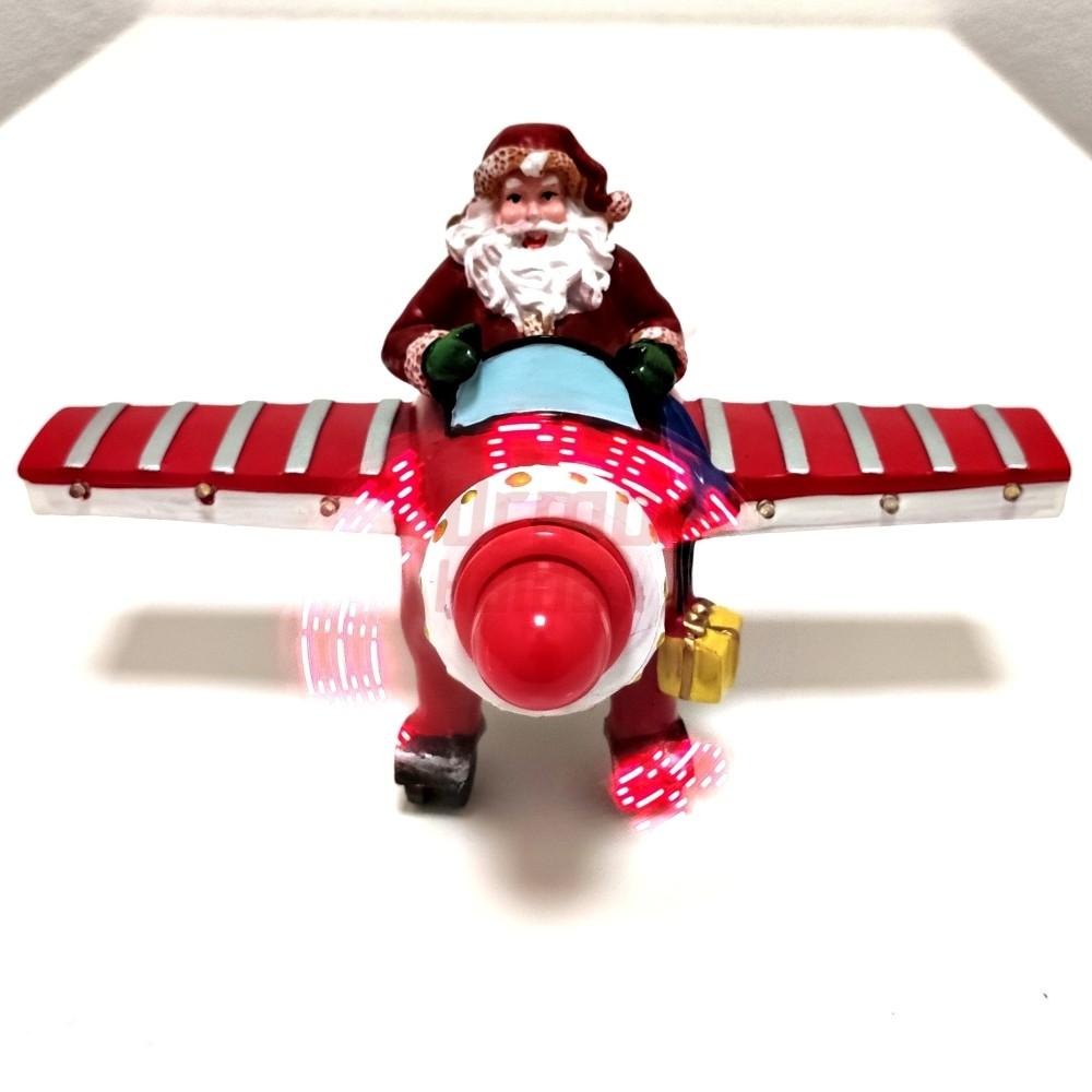 Holograminė dekoracija Kalėdų senis lėktuve